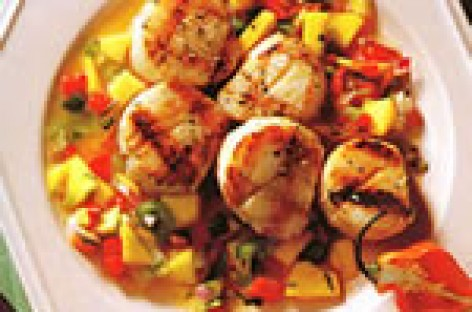 Grilled Scallops with Rocotillo-Mango Relish