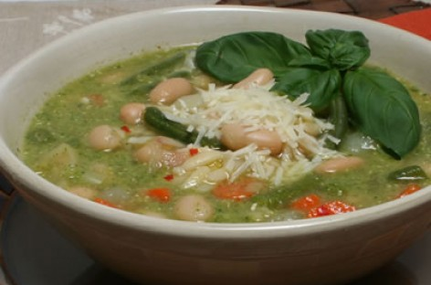 Italian Vegetable Soup with Orzo and Pesto