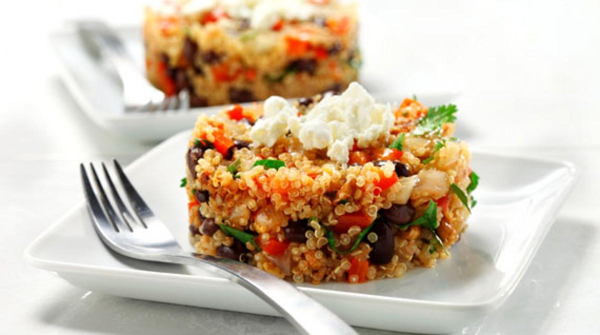 Quinoa with Black Beans, Cilantro and Feta