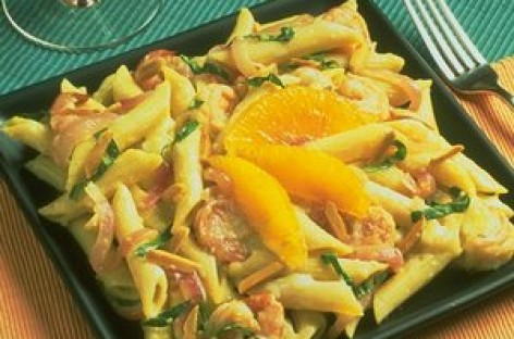 Mostaccioli and Shrimp with Tangerine Basil Sauce