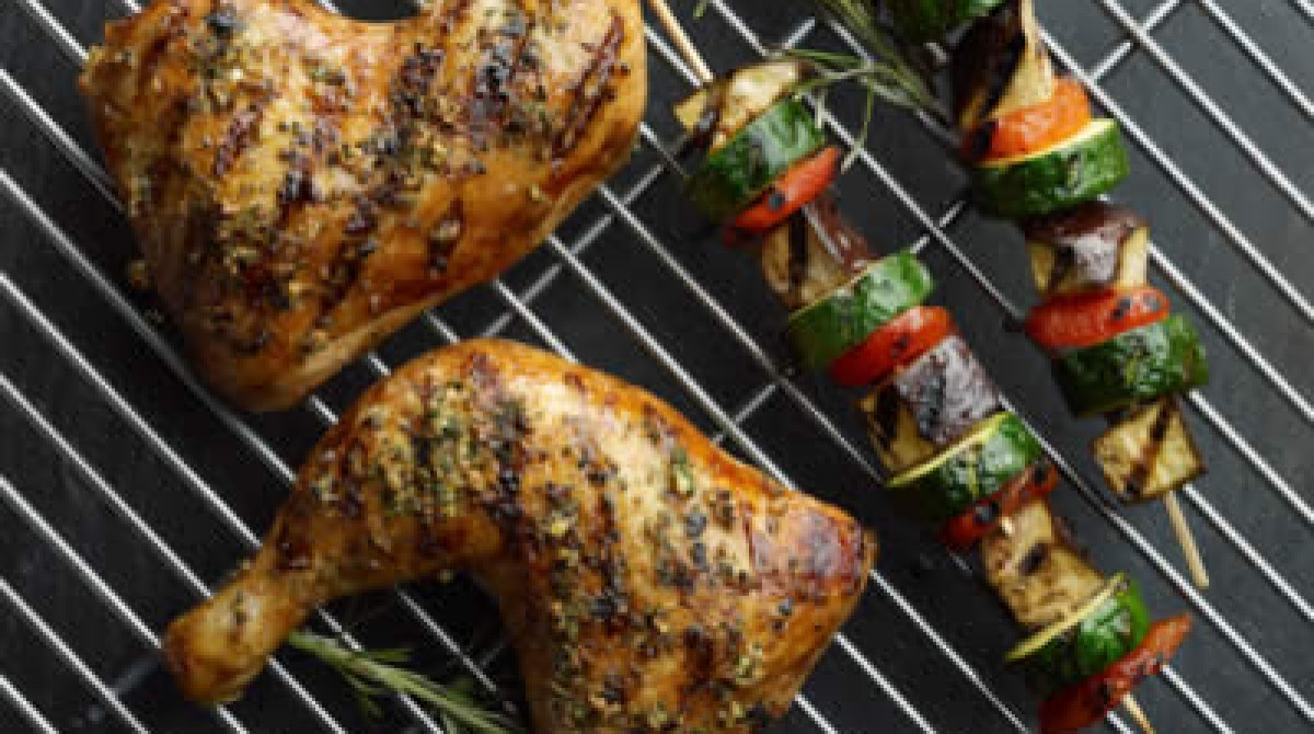Chicken Legs with Glazed Eggplant, Zucchini and Apricot Skewers