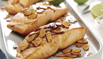 Grilled Salmon with Spiced Almonds